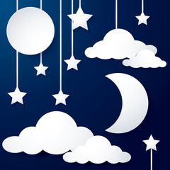 moon and cloud paper
