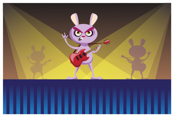 Pink bunny playing guitar on stage vector illustration