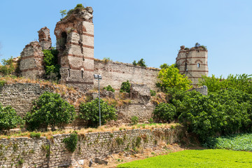 The ruins of famous ancient walls of Constantinople in Istanbul,