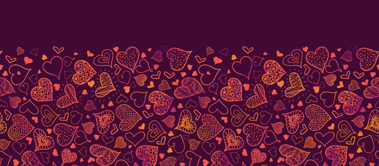 Vector Valentine's Day Hearts Horizontal Seamless Pattern