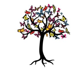 Colorful Butterfly Tree Vector Graphic