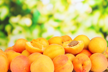 Fresh natural apricot on bright background