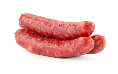sausages on white background