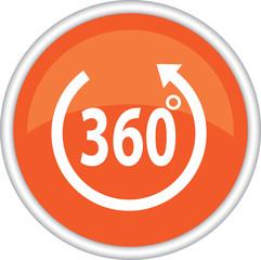 Оранжевая иконка с надписью 360 градусов
