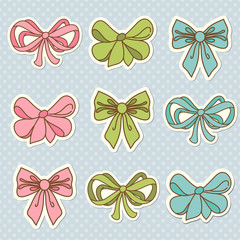 Doodle colored bow icons