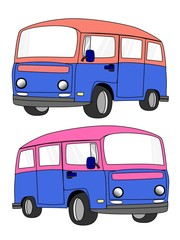 van cartoon isolate on the white background
