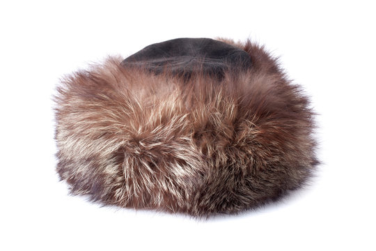 brown female fur hat isolated on white background