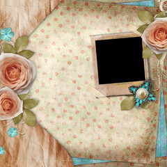 Greeting  card with beautiful roses