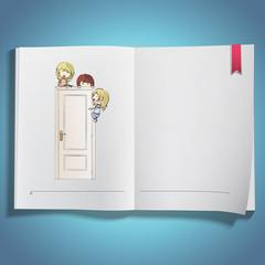 Kids around white door printed on book.