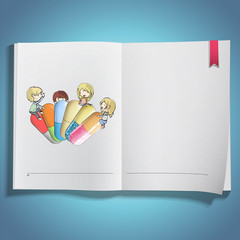 Kids holding colorful pills printed on book.
