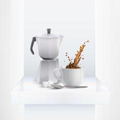 Coffee pot on shelf.