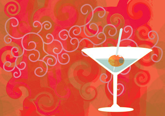 retro cocktail wine drink aperitif orange martini olive