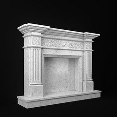 natural marble fireplace view perspective