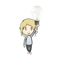 Girl holding a bulb isolated on white. Vector design.
