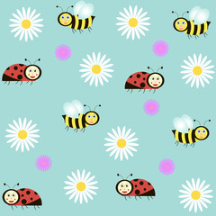 background with ladybirds, bees and camomiles