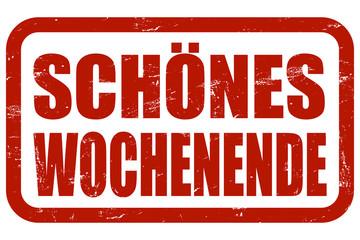 Grunge Stempel rot SCHÖNES WOCHENENDE