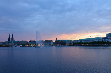 Old city of Hamburg and the Alster at dusk