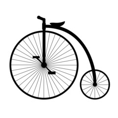 Penny-farthing. Silhouette of old bicycle.