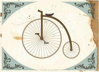 Penny-farthing on grange paper. Old fashion bicycle.
