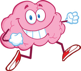 Healthy Brain Cartoon Character Jogging