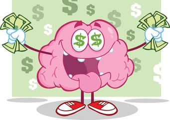 Brain Cartoon Character Money Loving