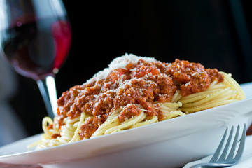 Bolognese and red wine