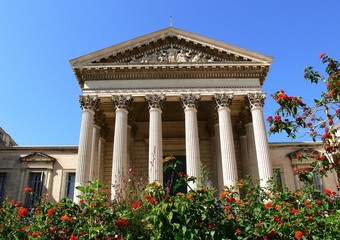 Facade of the courthouse with flowers, Montpellier, France