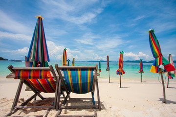 Beach bed and beach umbrella,Phuket,Thailand