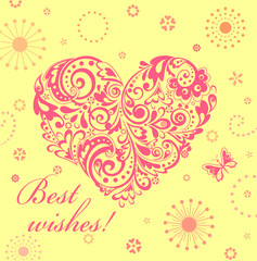 Cute greeting card with floral decorative heart