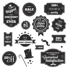 Set of Vintage Retro Stickers Labels and Ribbons