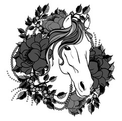 Horse head with flowers