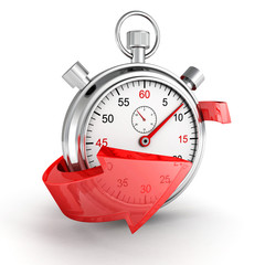 Fast delivery. Stopwatch with red arrow on a white background