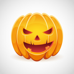 A Halloween pumpkin with evil smile card isolated
