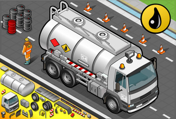 Isometric Liquid Tanker Truck in Front View