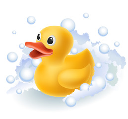 Rubber duck in foam
