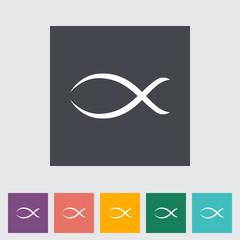 Fish single flat icon.
