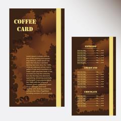 Menu price list of coffee or chocolate