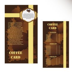 Menu price list of coffee