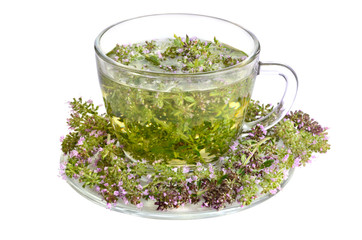 Fototapete - Green tea with thyme
