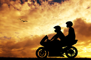 Fototapete - couple on a motorcycle