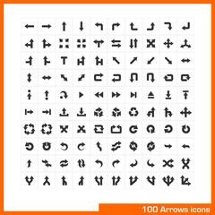 100 arrows icons set. Vector black pictograms.