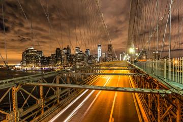 New-York - Brooklyn Bridge by Night - Financial district
