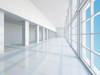 The empty long corridor
