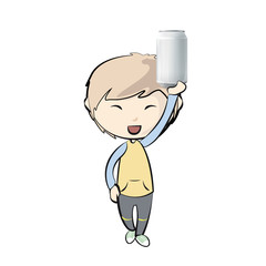 Kid holding a can. Vector design
