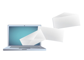 Modern laptop with envelope inside. Vector illustration.