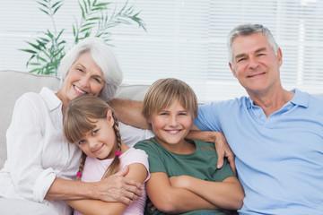 Portrait of grandparents with their grandchildren