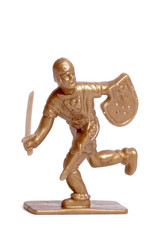 Toy soldier on a white background, knight