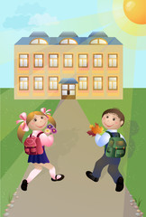 Girl and boy go to school. Vector illustration.