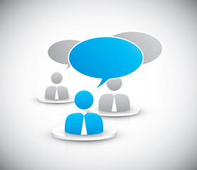 People discussing together icons vector