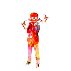 Colorful vector man with scull background with butterflies